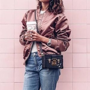 Mauve Bomber Jacket With Rose Gold Accents